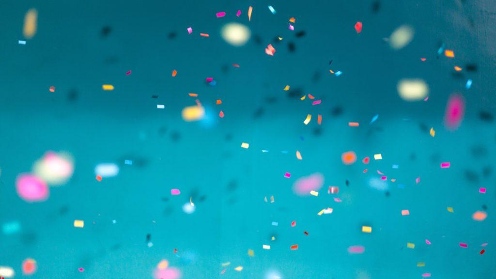 Confetti falling through the air