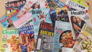 assortment of magazines