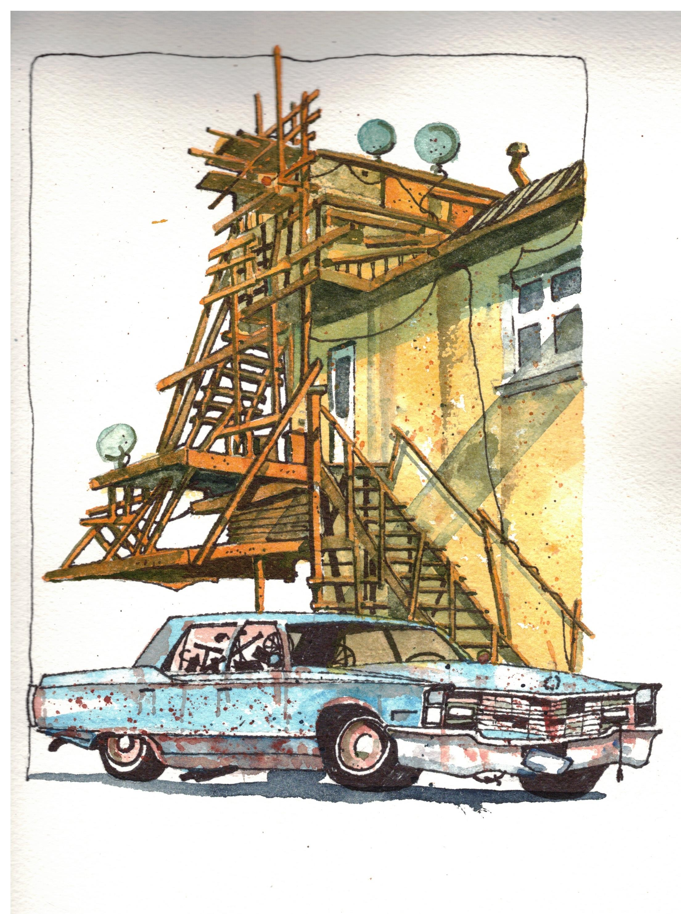Artwork of the Hodge Podge. Yellow building with wooden stairs and an old blue car parked at the back.