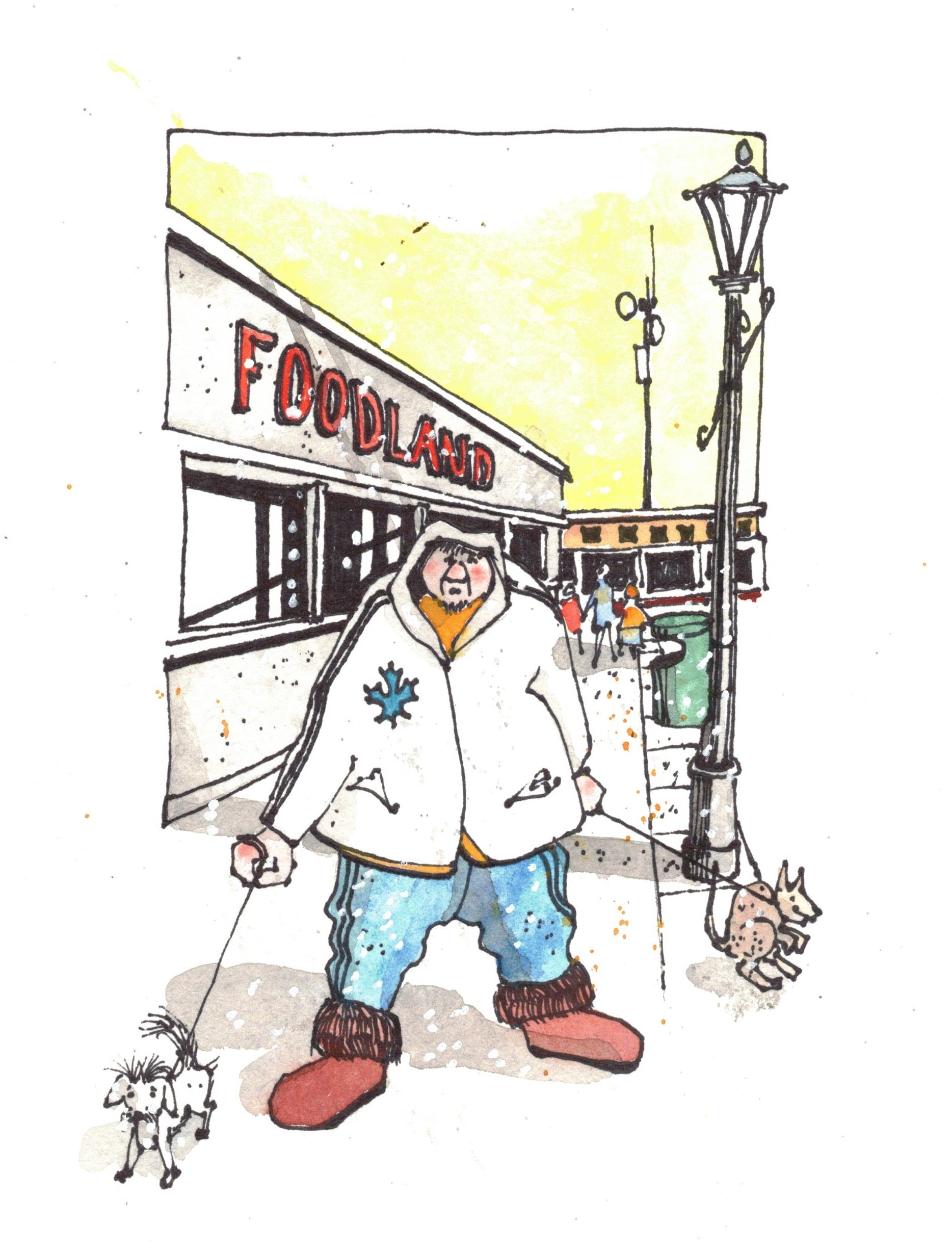 Artwork of a man standing on the sidewalk at foodland walking two small dogs