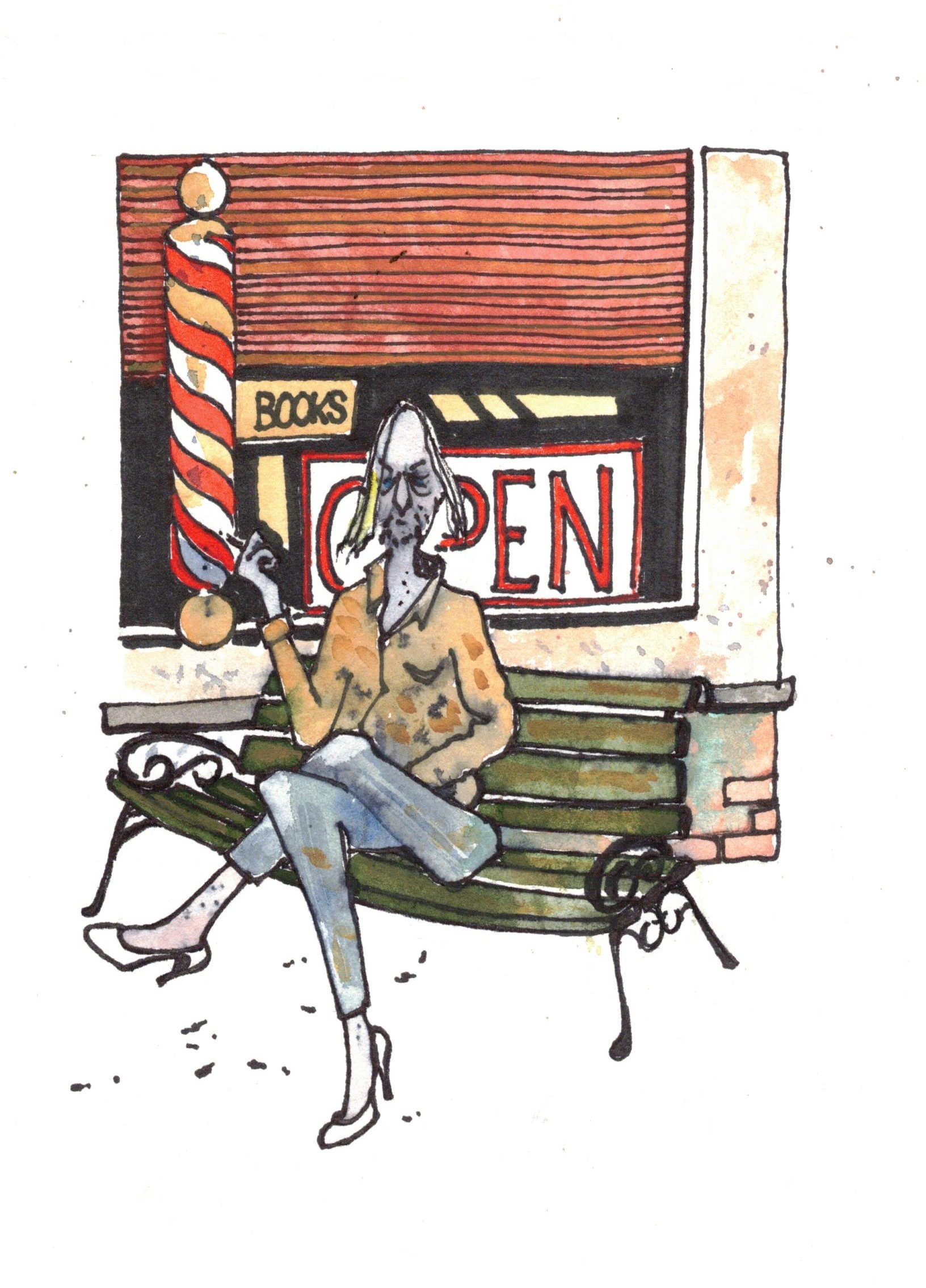 Person sitting on a bench outside Jo's Barber shop in Beaverton smoking a cigarette.