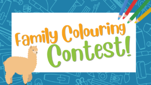 Graphic saying 'Family Colouring Contest'